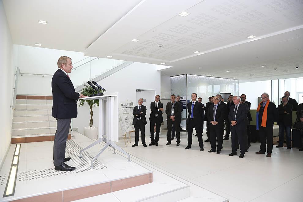 Dominique Lefebvre lors de l'inauguration du nouveau siège de SPIE