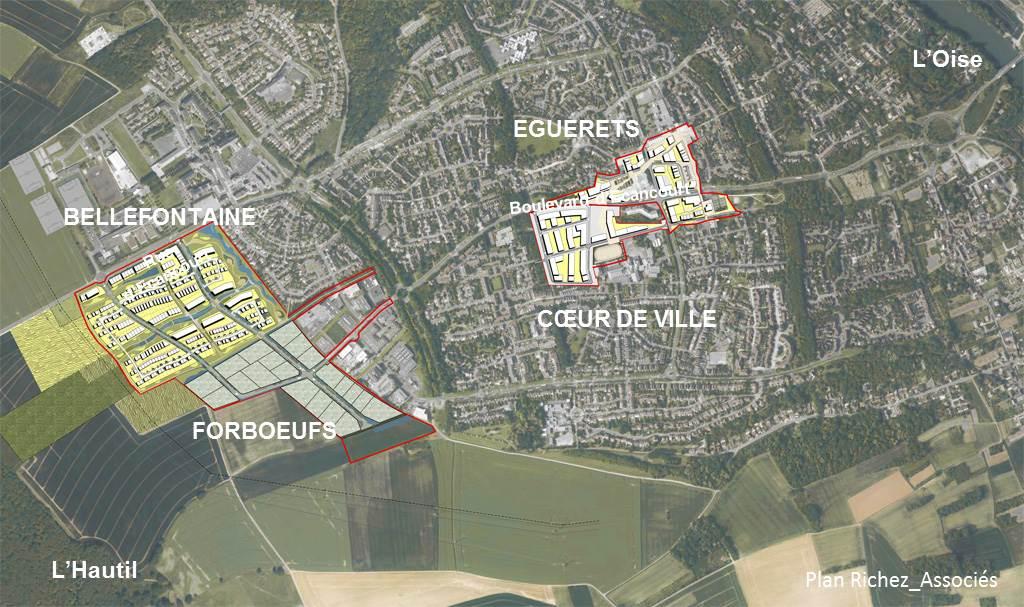 Secteurs du projet urbain Jouy-le-Moutier