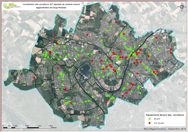 Carte des carrefours équipés du dispositif pour déficients visuels à Cergy-Pontoise
