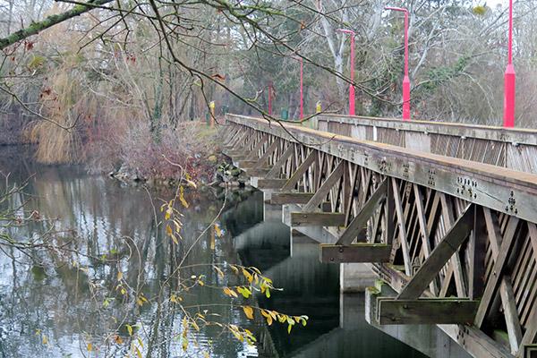 base de loisirs, île aux loisirs, étangs, cergy-pontoise, pont sur l'étang des Eguerets
