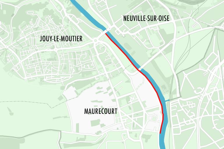 Carte de l'aménagement des bords d'Oise entre Maurecourt et Jouy-le-Moutier