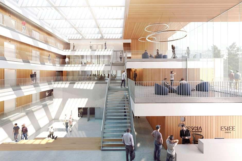 Vue du hall du futur bâtiment d'ITESCIA à Pontoise