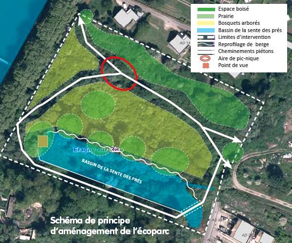 Schéma de principe aménagement écoparc Éragny-sur-Oise, Cergy-Pontoise