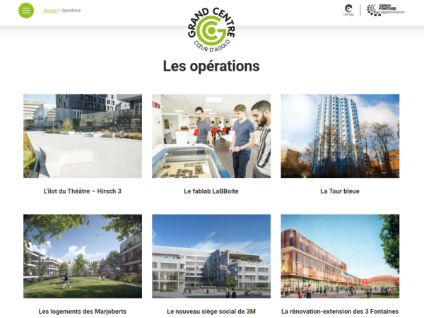 page du site interne Grand centre