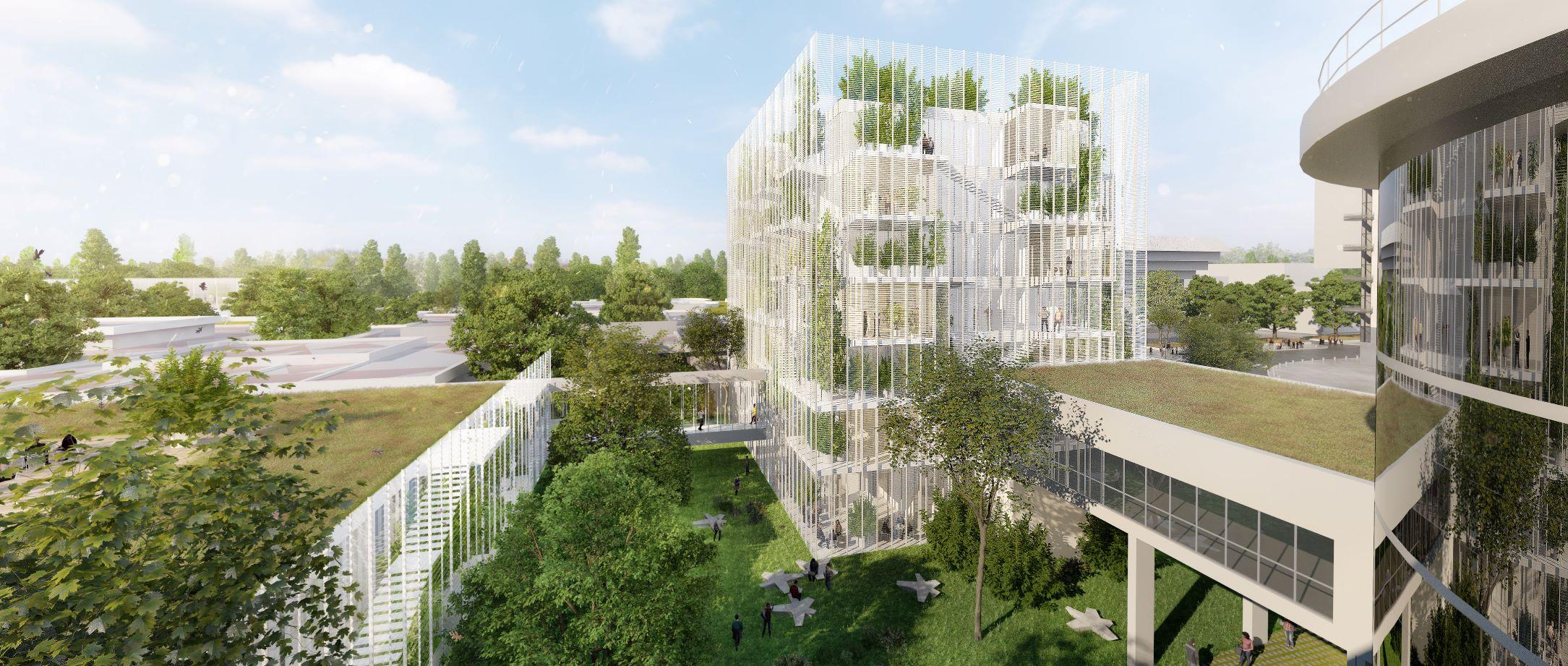 Campus Essec 2020 à Cergy-Pontoise : vue intérieure