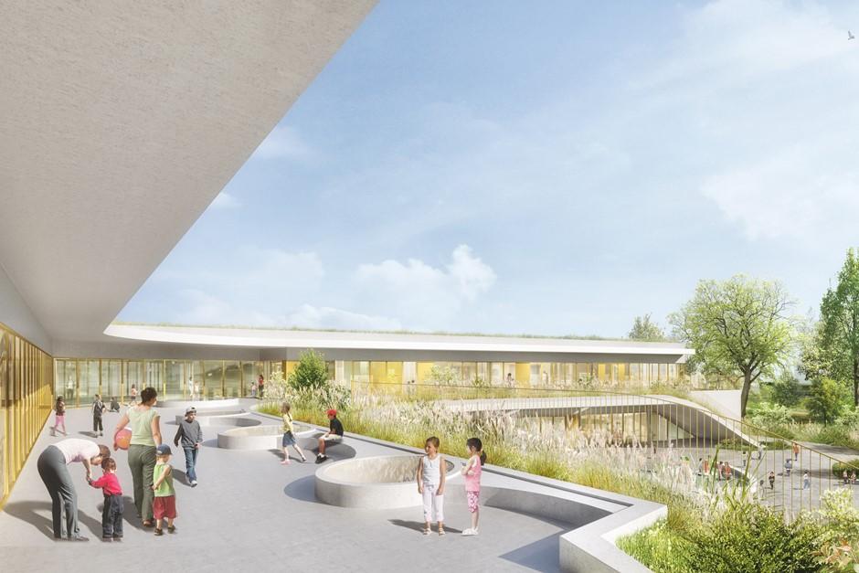 Le futur groupe scolaire du quartier des Doux Epis sur le Plaine des linandes à Cergy