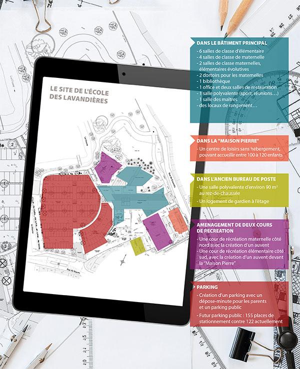 Plan de l'école des lavandières à Pontoise