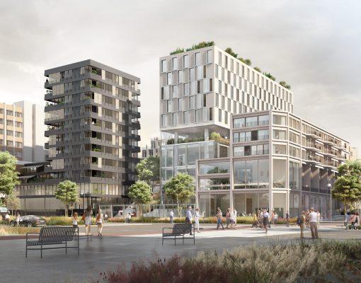 Perspective du futur ensemble remplaçant l'immeuble de la Poste à Cergy