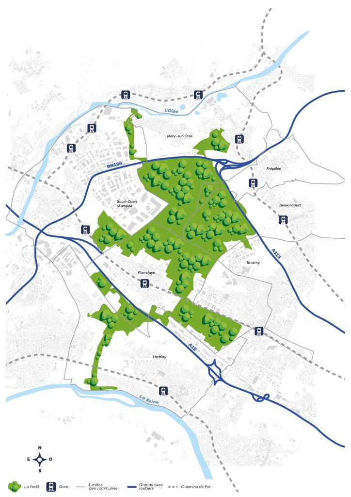 Le plan de la forêt de Pierrelaye © SMAPP
