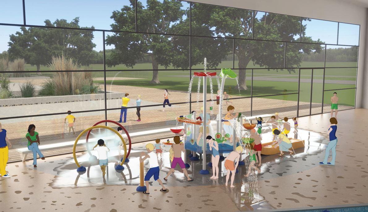 Illustration présentant un projet d'aménagement d'espace aqualudique