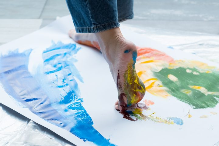 foot painting technique artist abstract artwork
