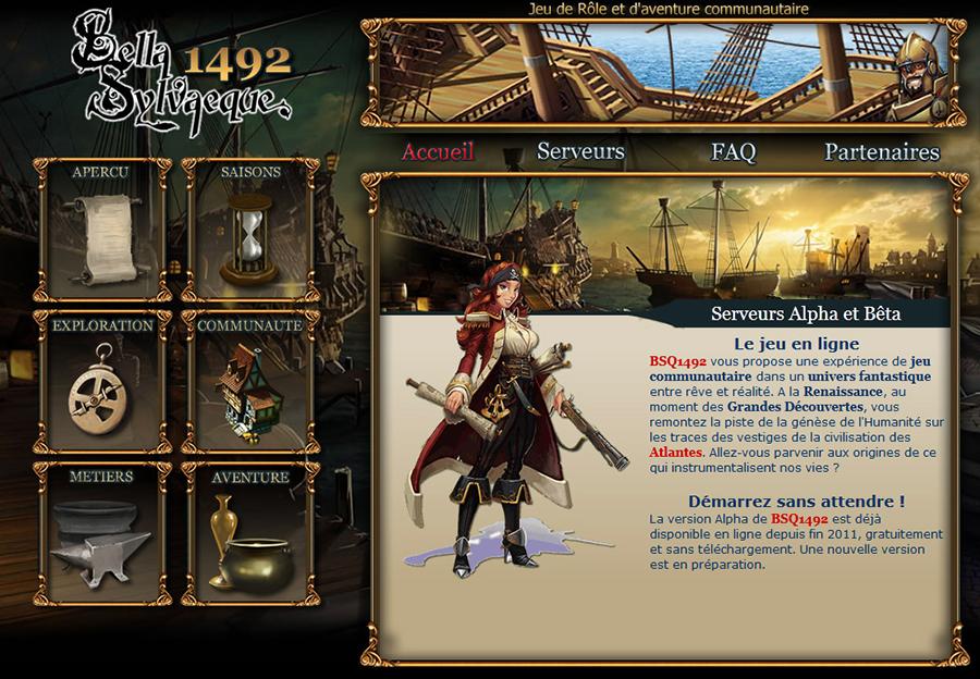 """Page d'accueil du jeu de rôle en ligne """"Bella Sylvaeque 1492"""""""