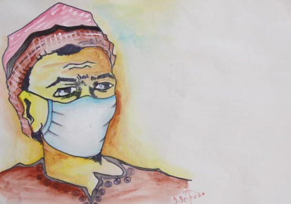Illustration du port du masque par Désiré Dèdèhouanou
