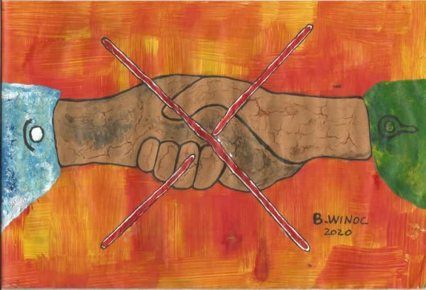 Illustration des gestes barrière par l'artiste Winoc