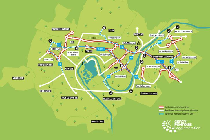 La carte des aménagements cyclables temporaires réalisés par la Communauté d'agglomération de Cergy-Pontoise