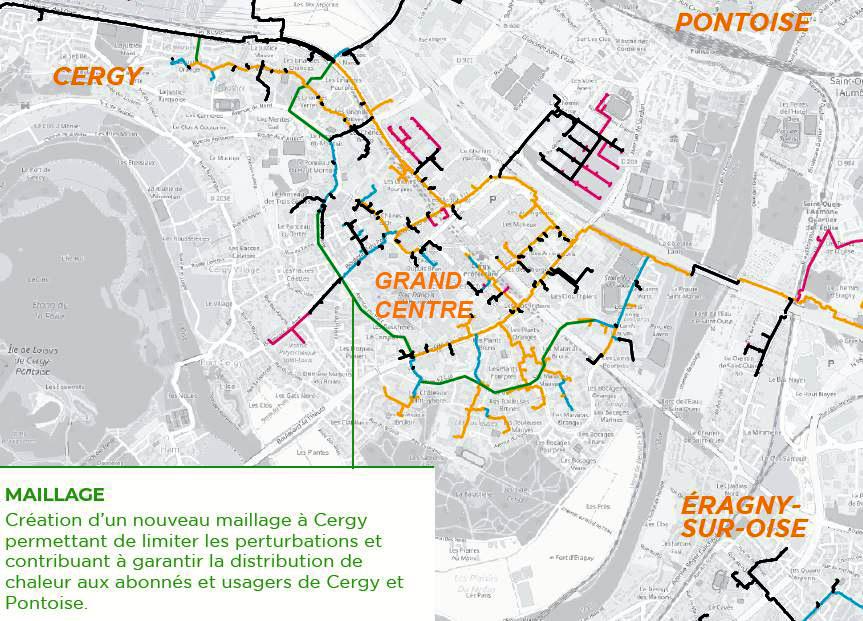 Détail réseau de chauffage urbain - Cergy-Pontoise