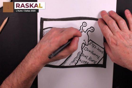 Les mains du dessinateur Raskal en train de finir de dessiner un escargot qui remplit un formulaire sur lequel il est écrit