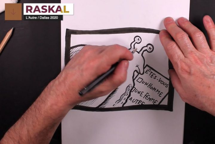 """Les mains du dessinateur Raskal en train de finir de dessiner un escargot qui remplit un formulaire sur lequel il est écrit """"Êtes-vous un homme, une femme, autre..."""""""