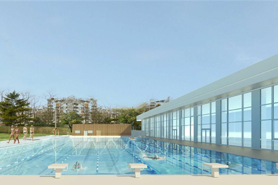Dessin du futur bassin nordique de 50 m de la piscine du Parvis à Cergy-Pontoise