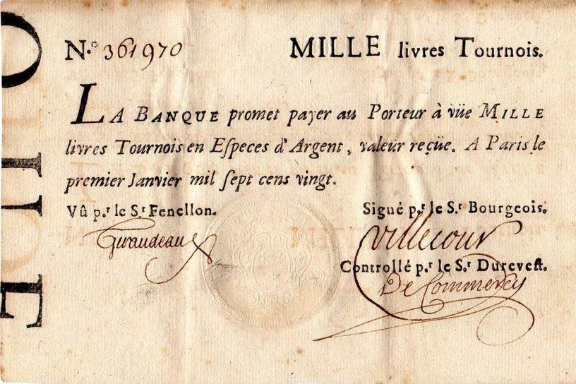 Billet de banque émis en 1720 puis dévalué