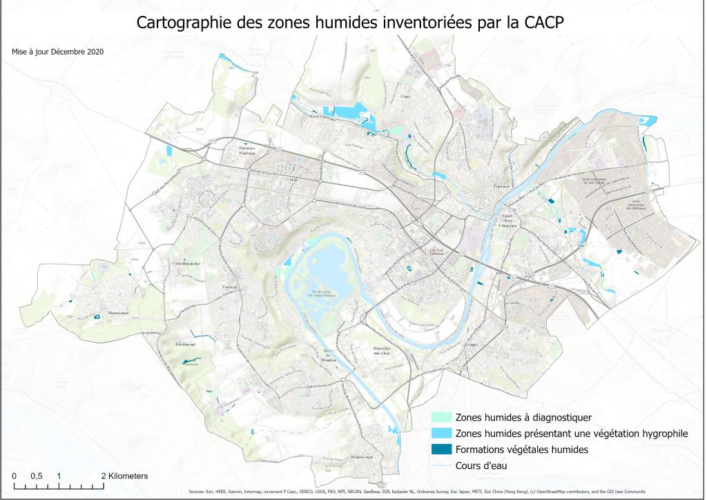 Carte des zones humides de Cergy-Pontoise