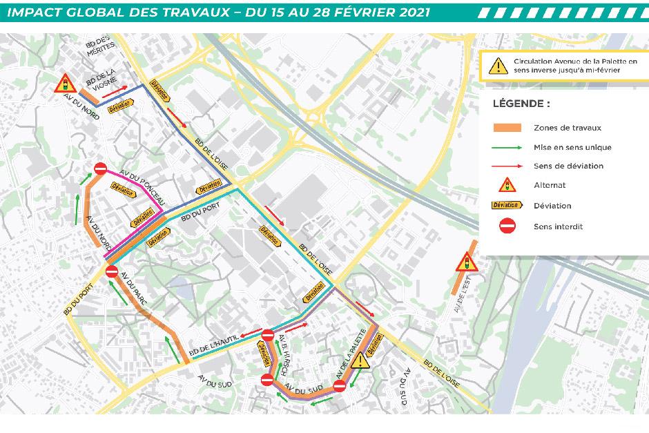 Travaux du Chauffage urbain : plan de déviations du Grand Centre sur la deuxième quinzaine de février 2021