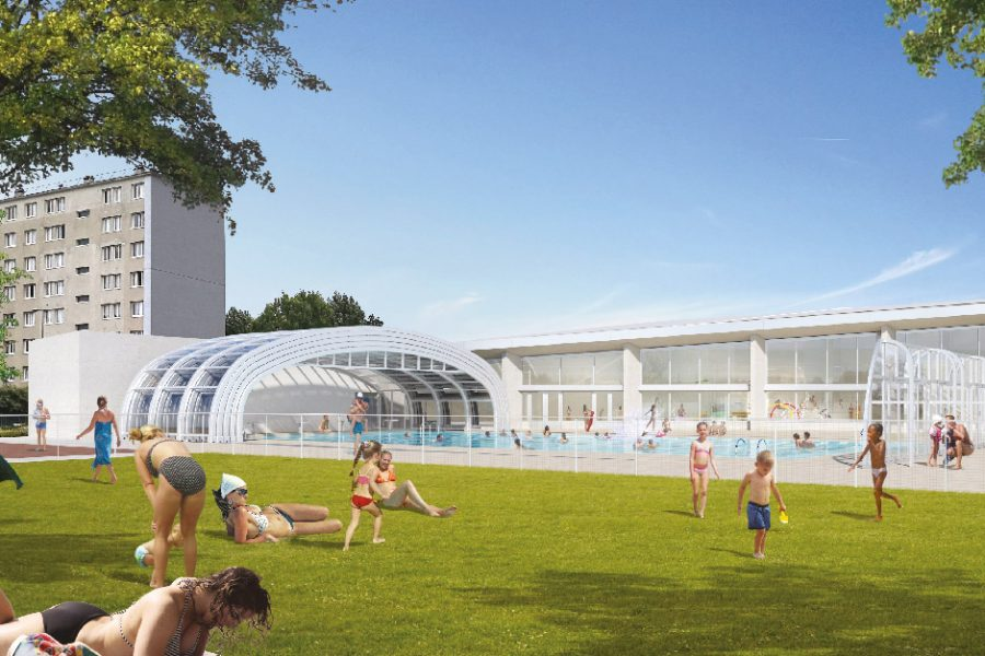 Perspective d'architecte futur bassin de loisirs extérieur avec son toit ouvrant télescopique.