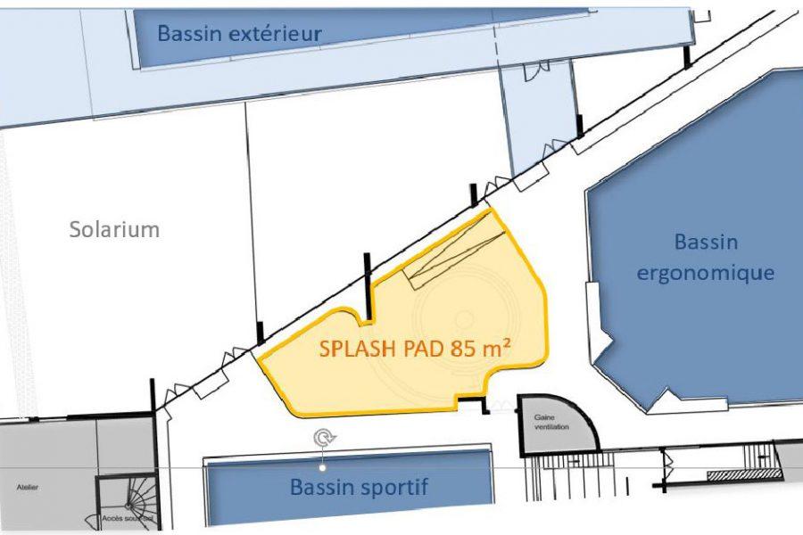 Plan d'implantation du futur espace aqualudique de la piscine des Louvrais.