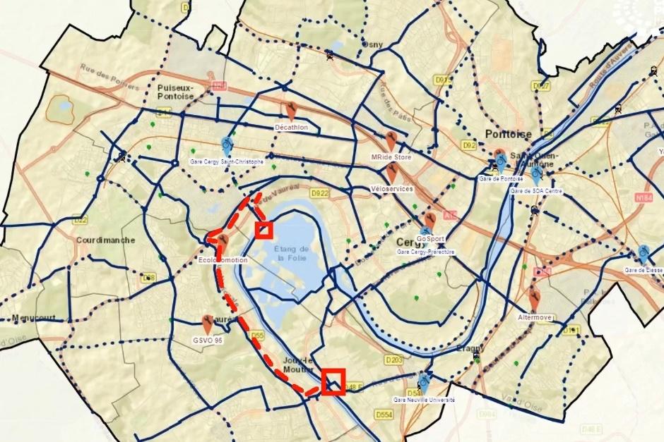 itinéraire vélo neuville - axe majeur