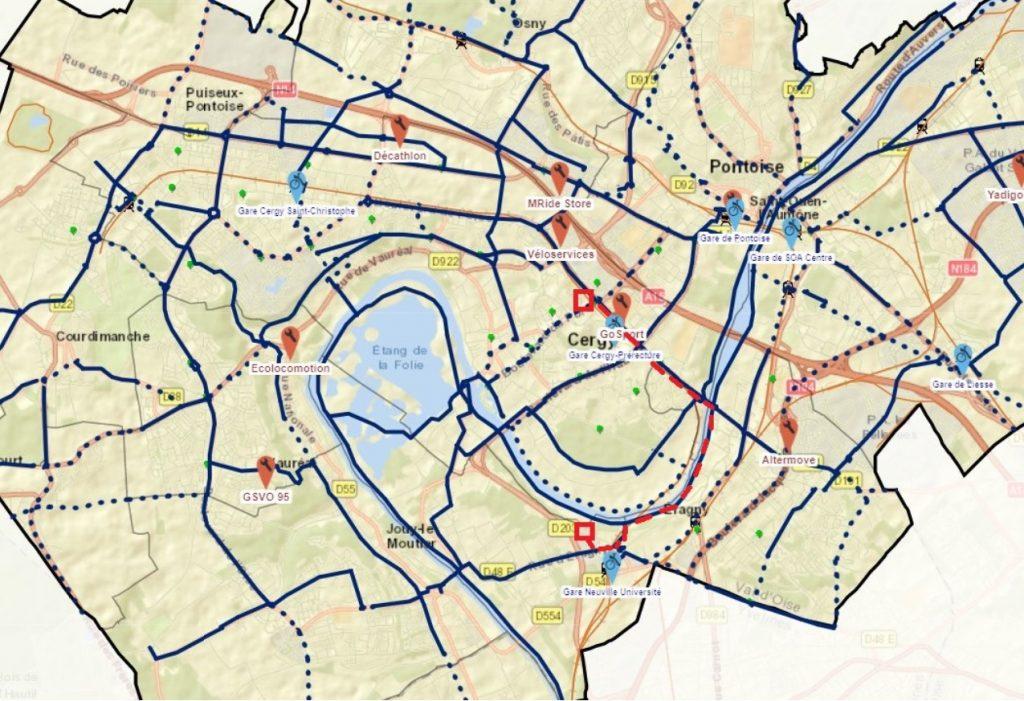 Itinéraire vélo de Cergy à Neuville